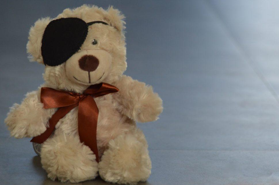 Amblypie u medvěda s nasazeným okluzorem
